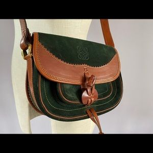 Loewe bottle green suede and leather crossbody